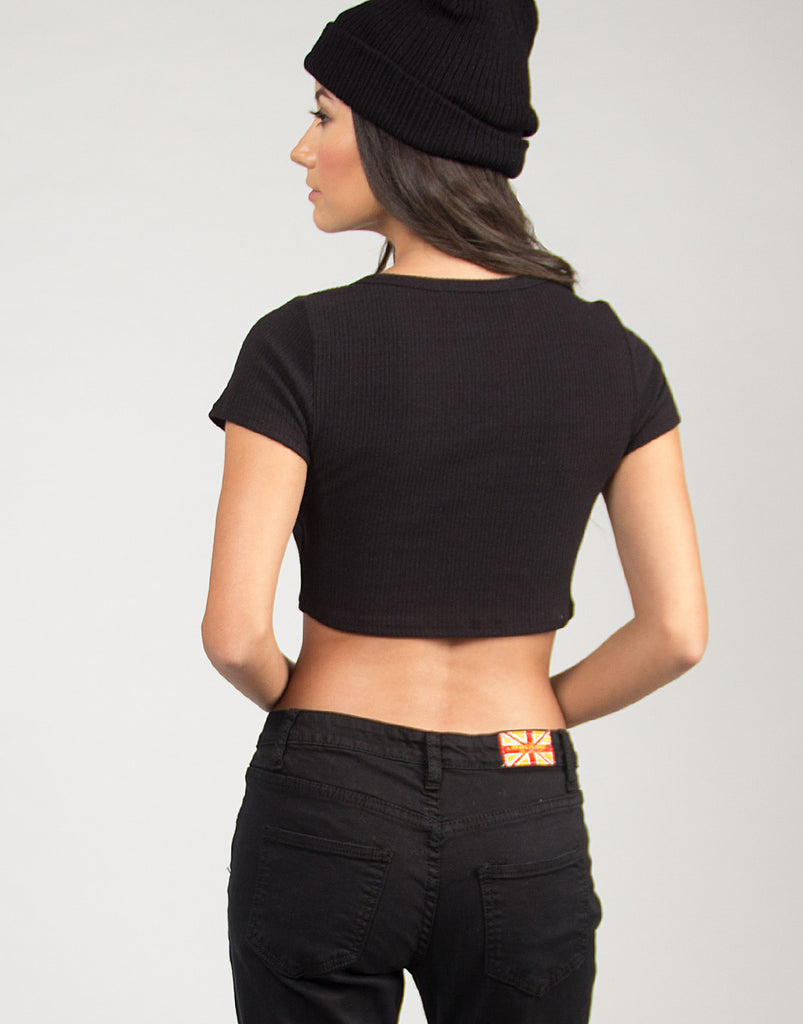 Short Sleeve Ribbed Crop Top - Black - 2020AVE