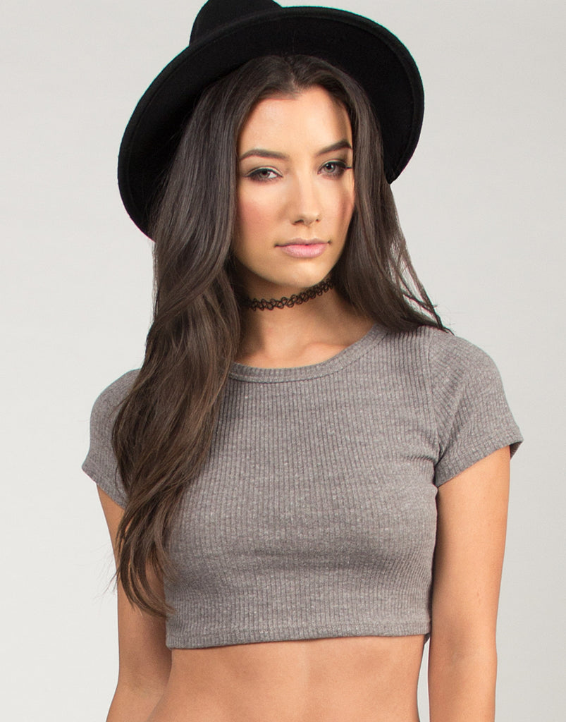 Short Sleeve Ribbed Crop Top - Gray - 2020AVE