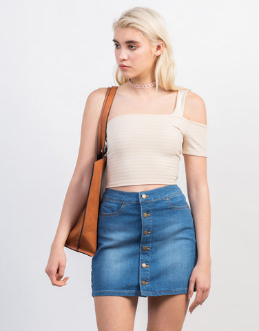 Front View of Shoulder Strapped Crop Top