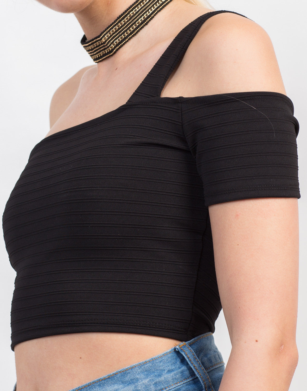Detail of Shoulder Strapped Crop Top