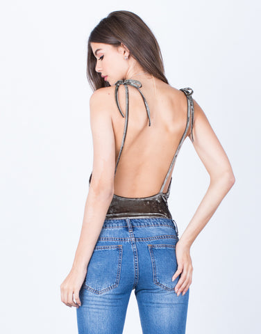 Back View of Shoulder Tie Velvet Bodysuit