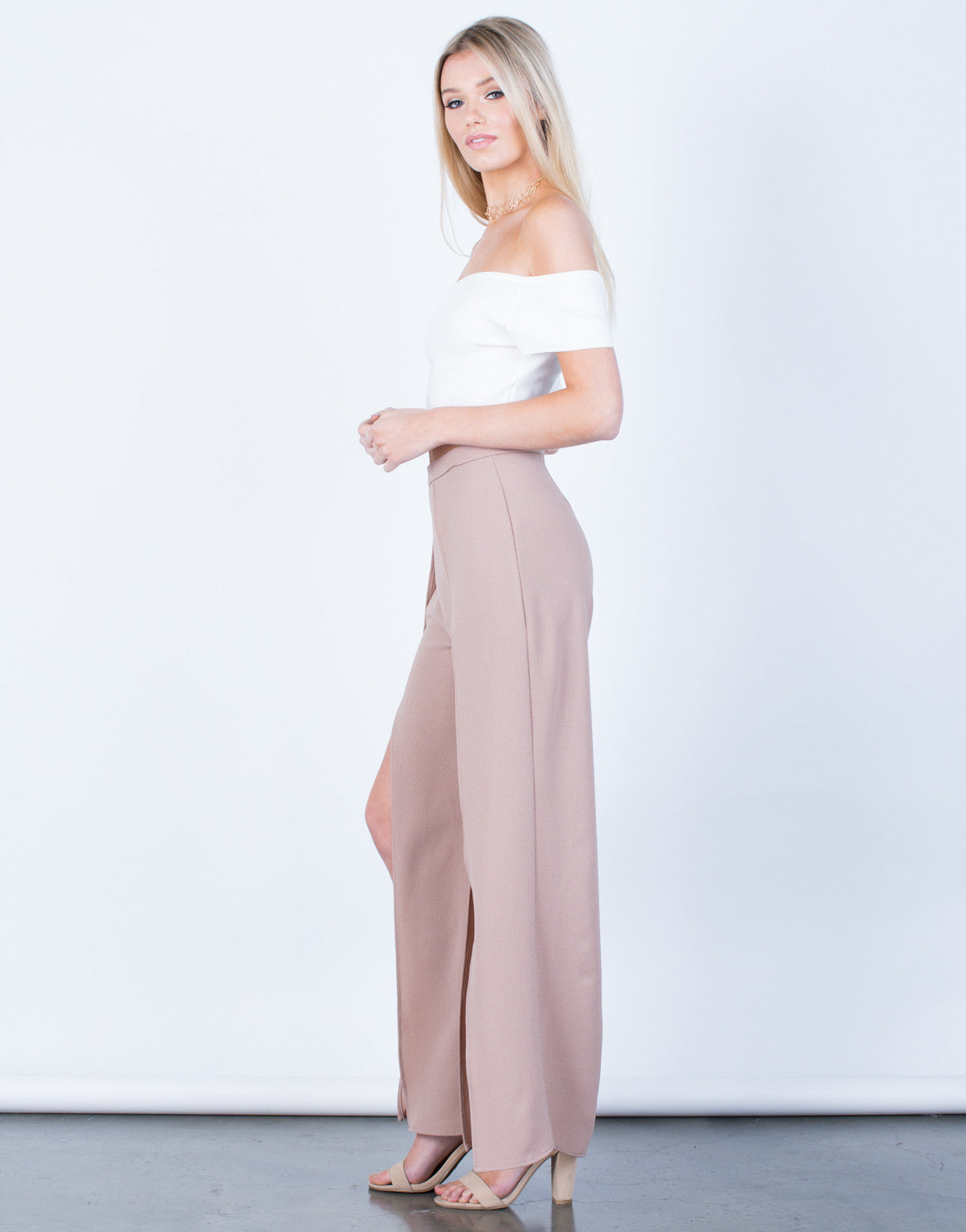 Side View of Show Me Palazzo Pants