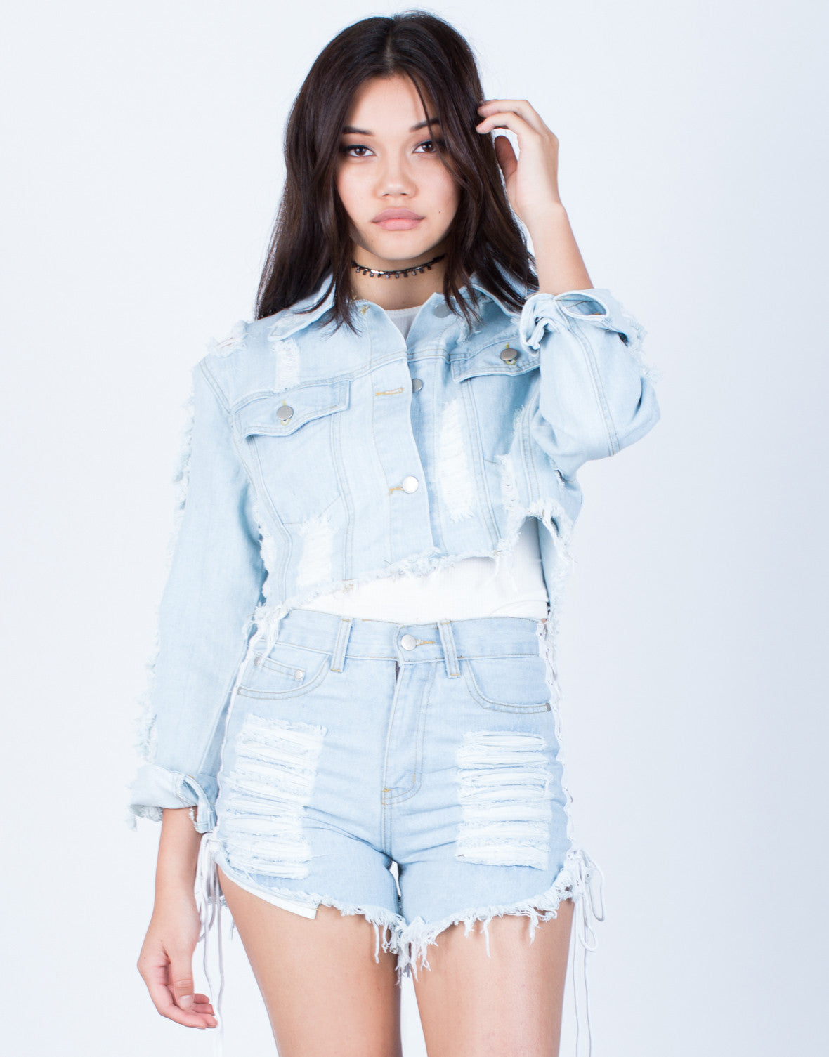 Front View of Shred it Crop Denim Jacket