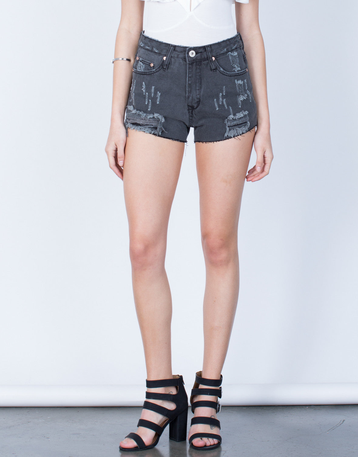 Front View of Shred it Denim Shorts