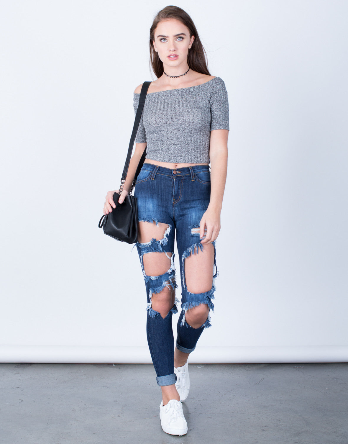 Front View of Shredded High Waisted Skinny Jeans
