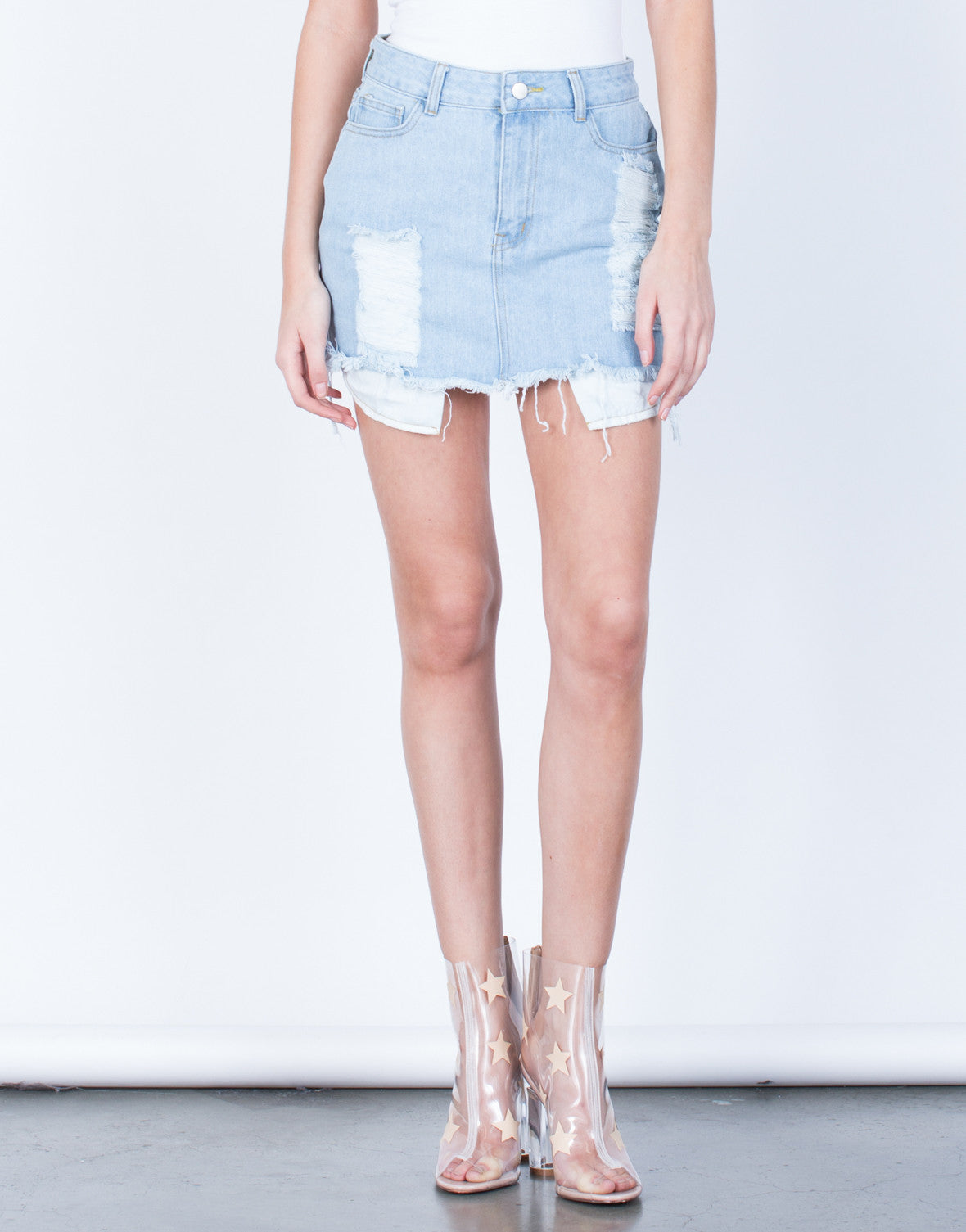 Front View of Shredded Mini Denim Skirt