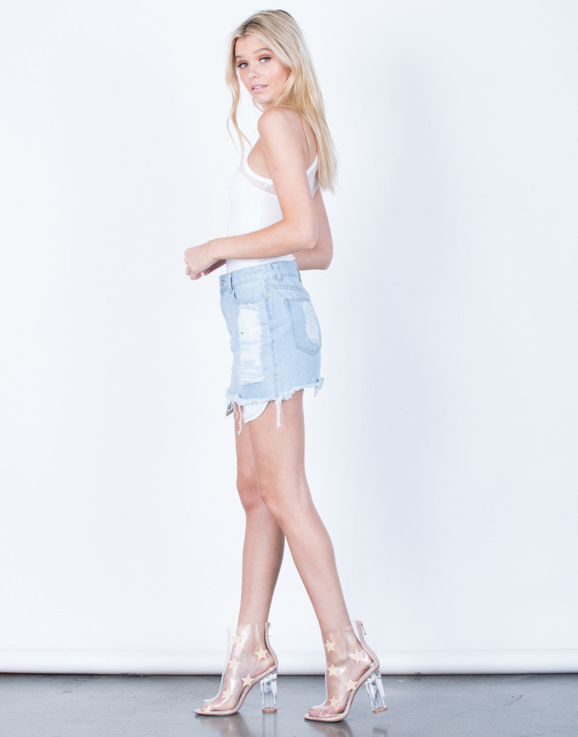 Side View of Shredded Mini Denim Skirt