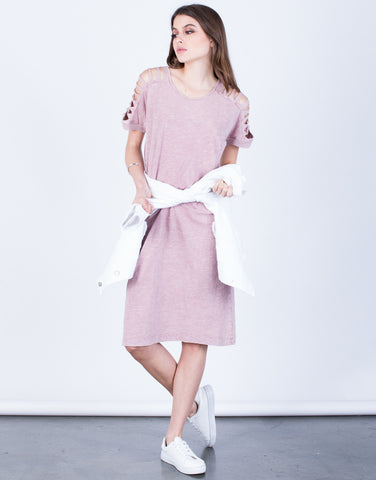 Front View of Shredded Sleeves Dress