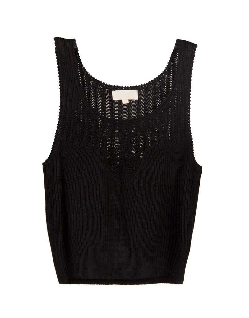 Shredded Knit Cropped Tank - Black - 2020AVE