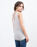 Back View of Shredded Knit Tank