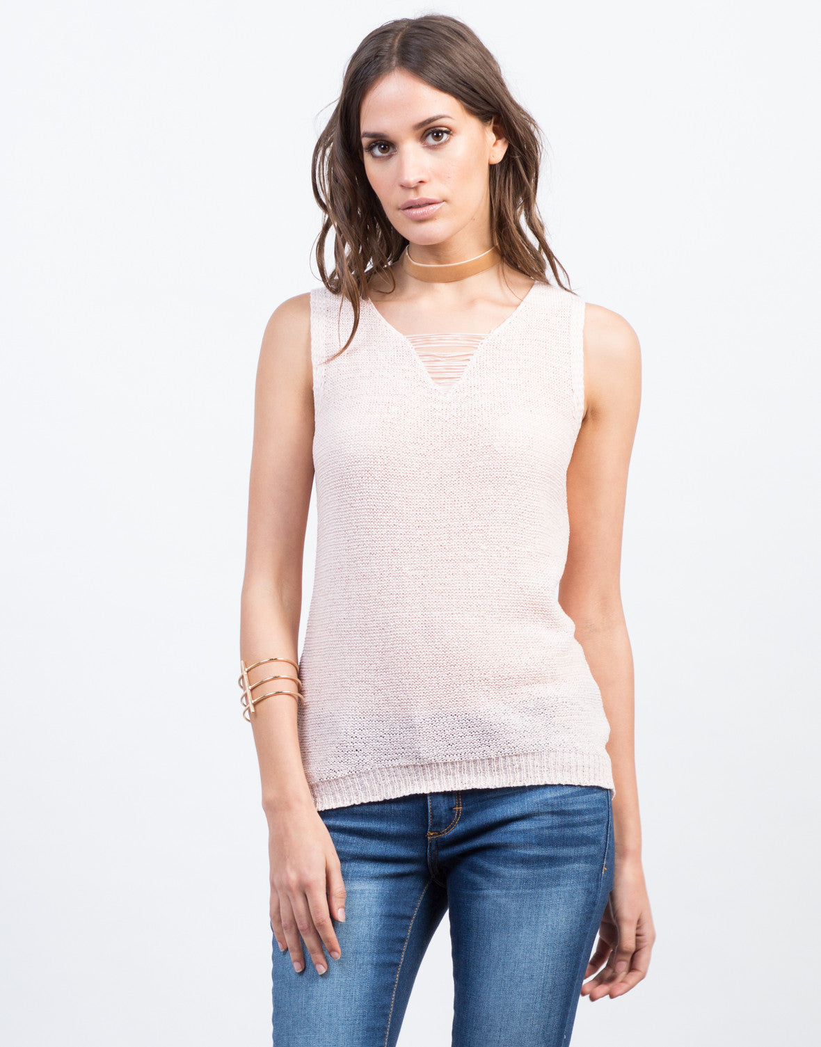 Front View of Shredded Knit Tank