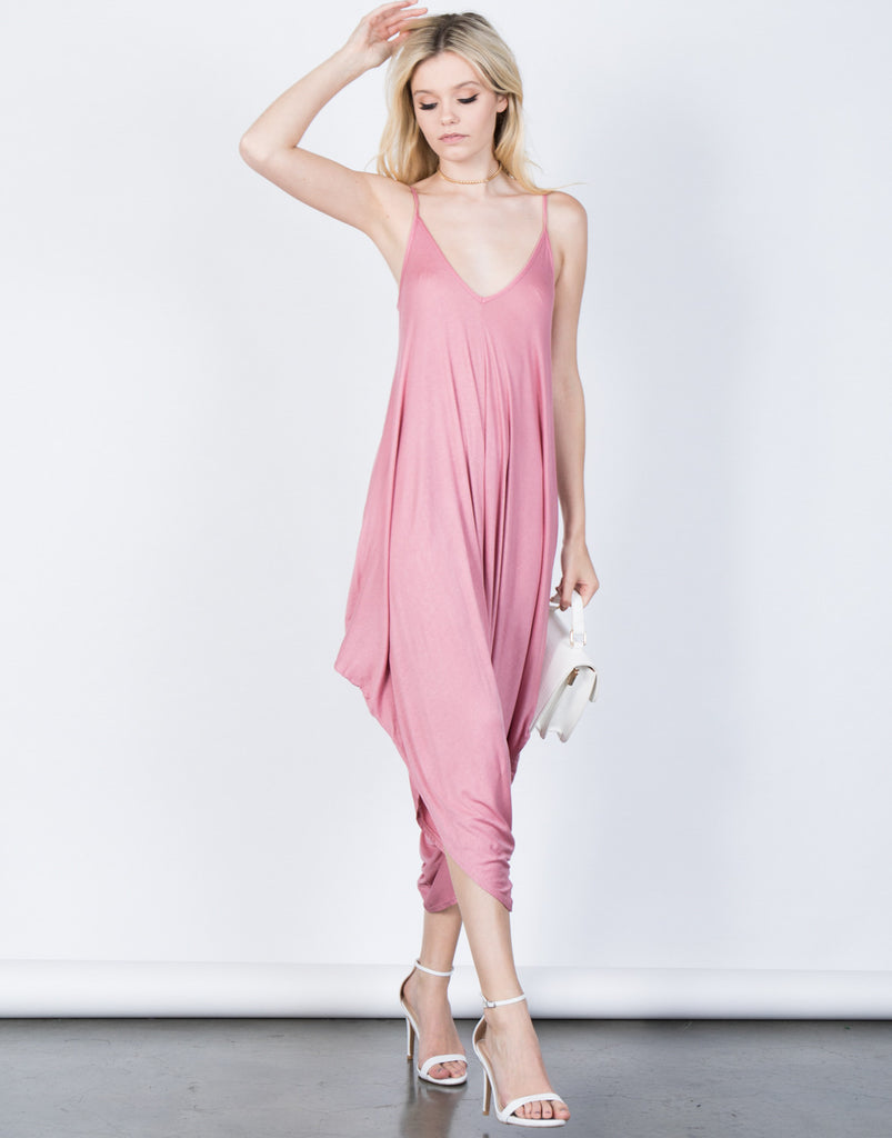 Side Draped Lightweight Jumpsuit - 2020AVE