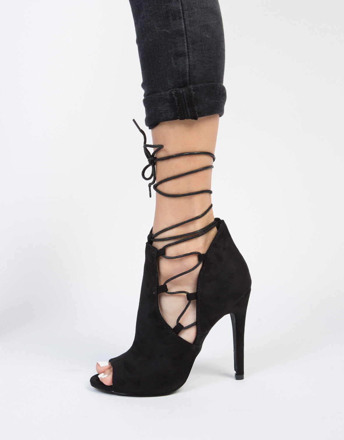 Side Lace-Up Heels