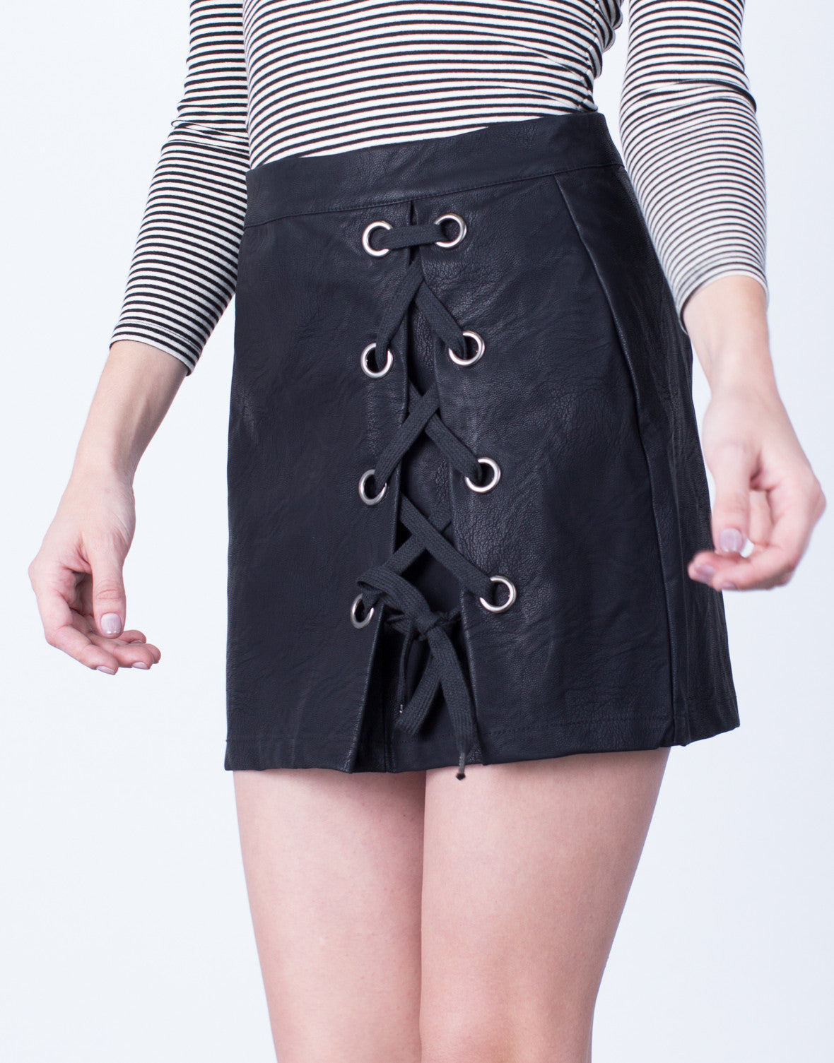 2fcc0f867932 Side Lace-Up Leather Skirt - Leather Lace Up Skirt - Black Leather ...
