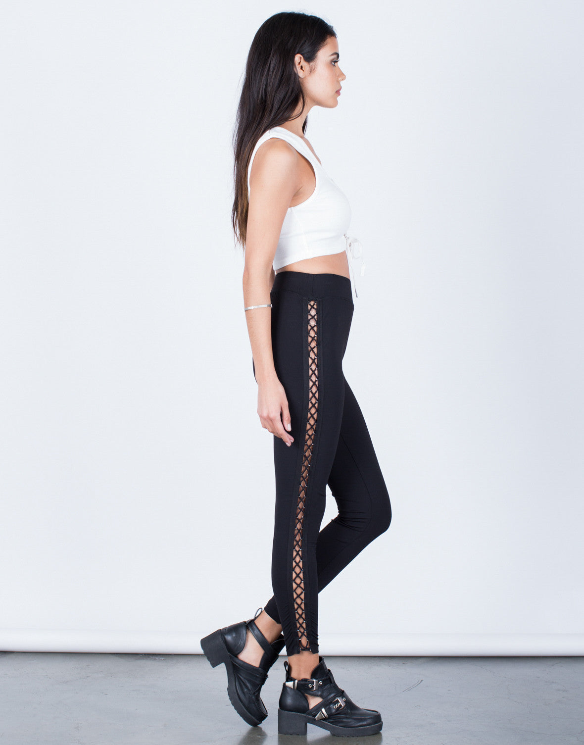 Side View of Side Lace-Up Leggings