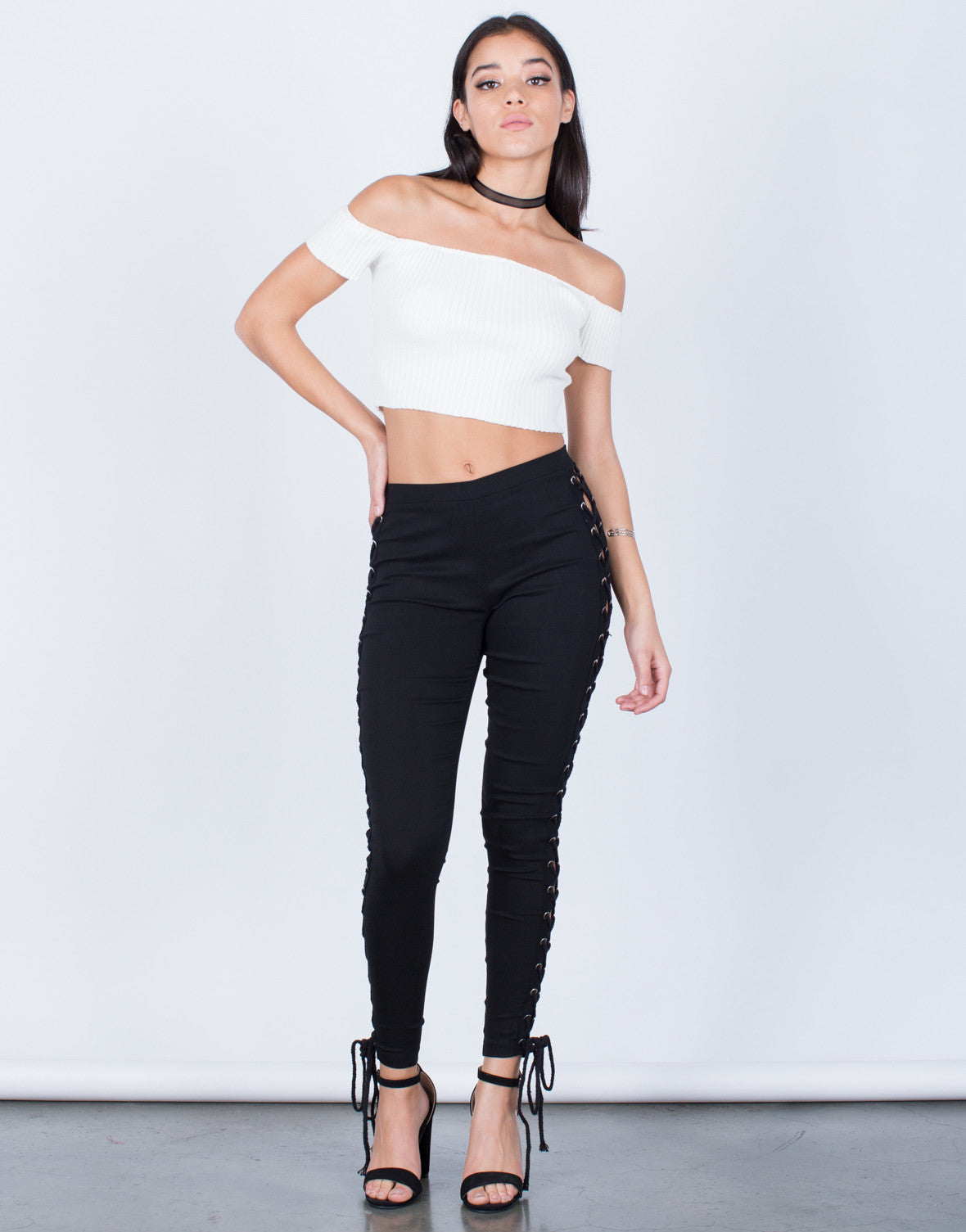 Front View of Side Lace-Up Pants