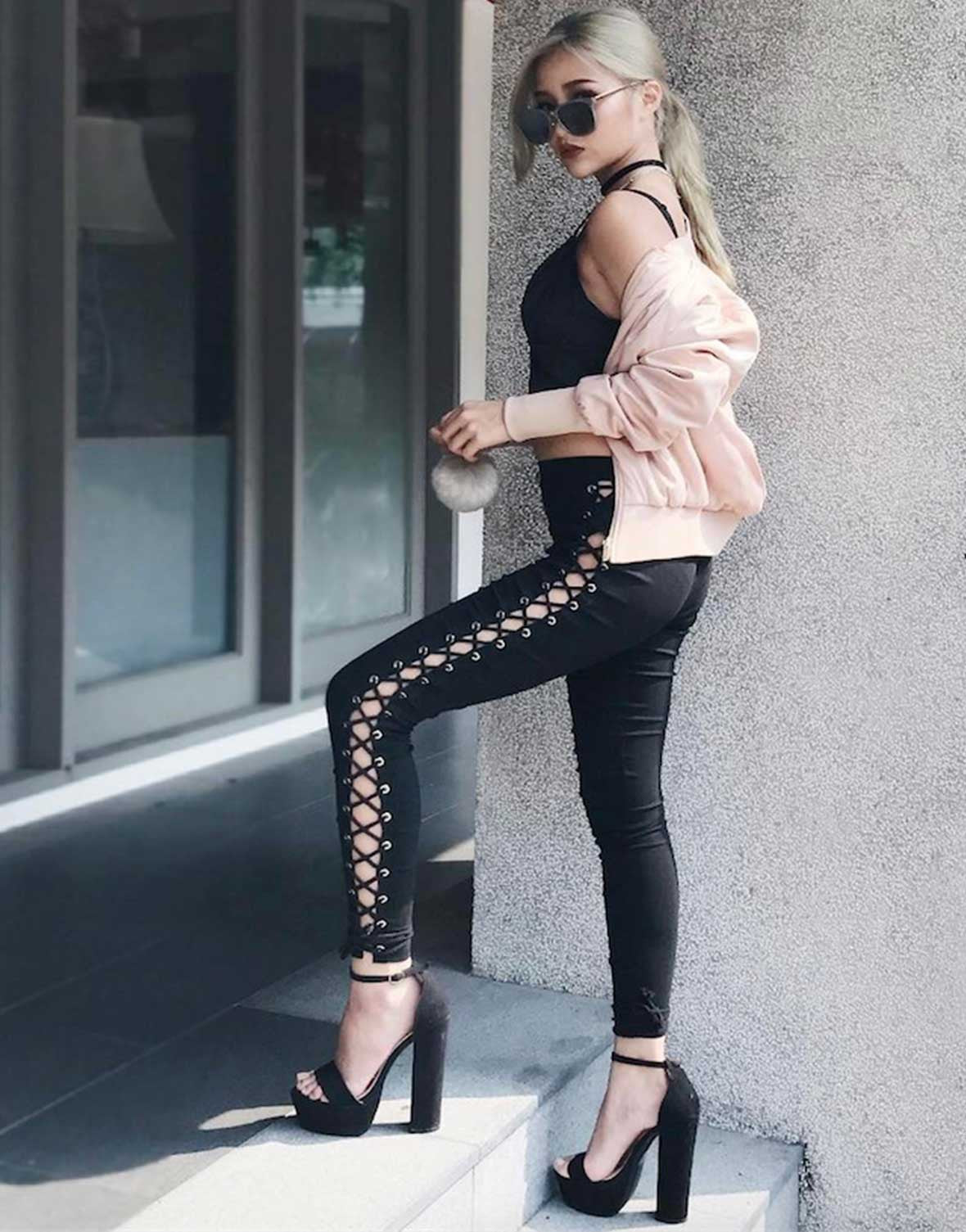 Side Lace-Up Pants