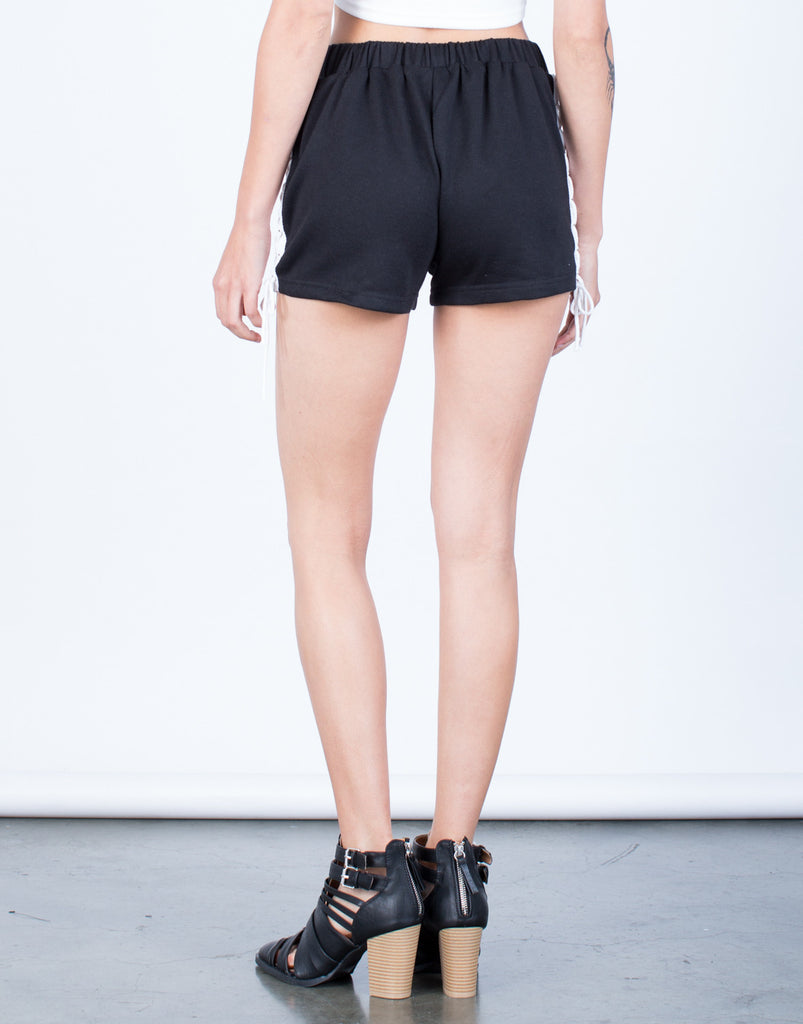 Back View of Side Lace-Up Shorts