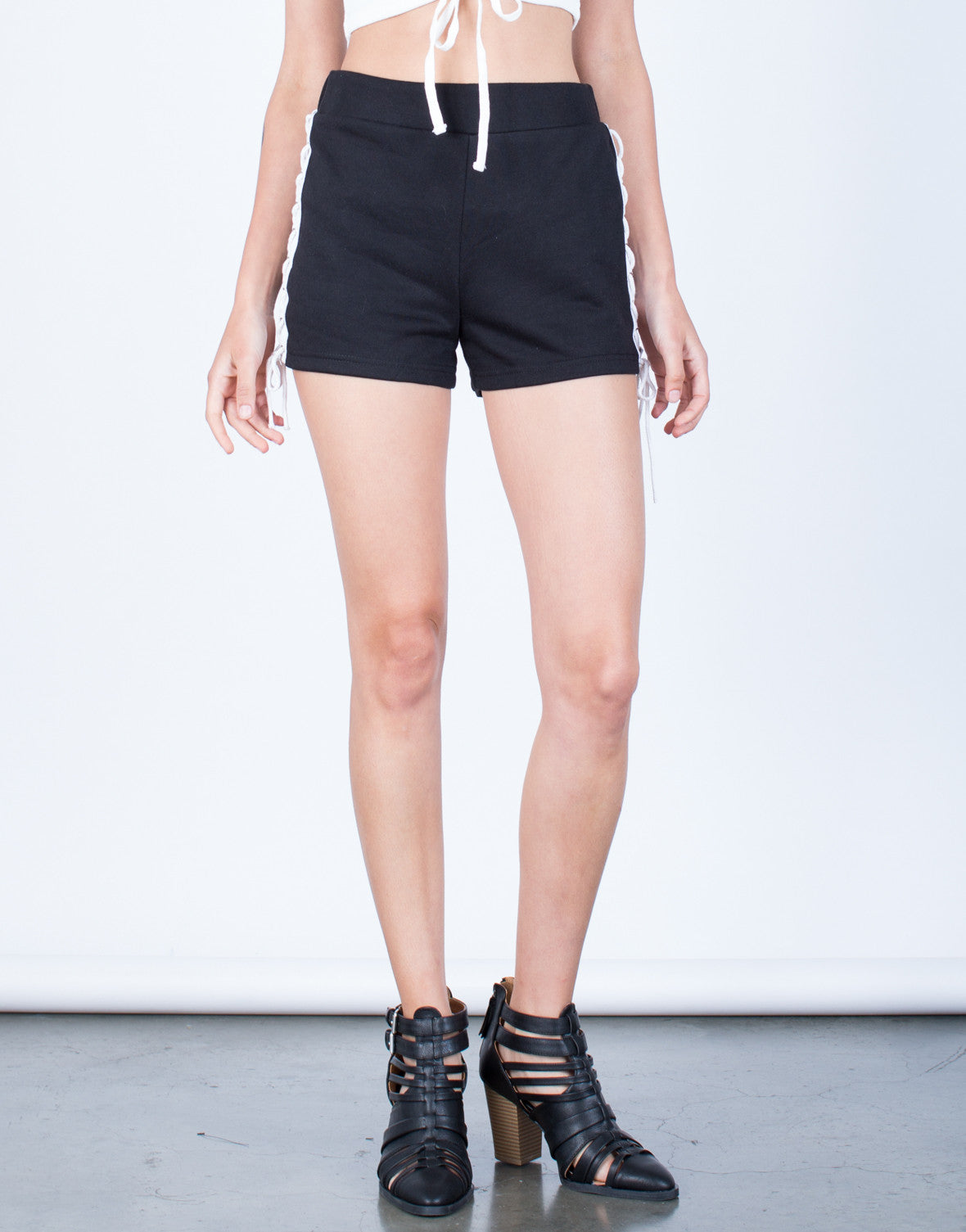 Front View of Side Lace-Up Shorts