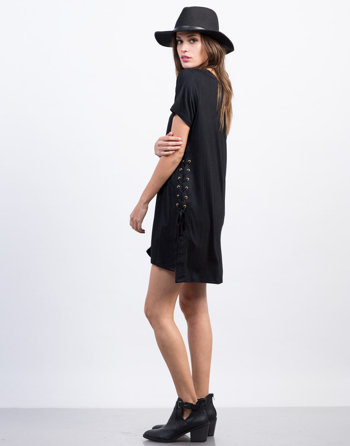 Side View of Side Lace-Up Tunic Tee