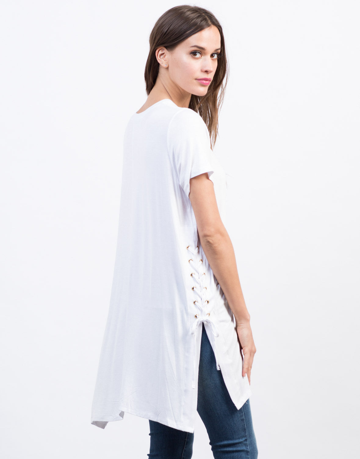 Back View of Side Lace-Up Tunic Tee