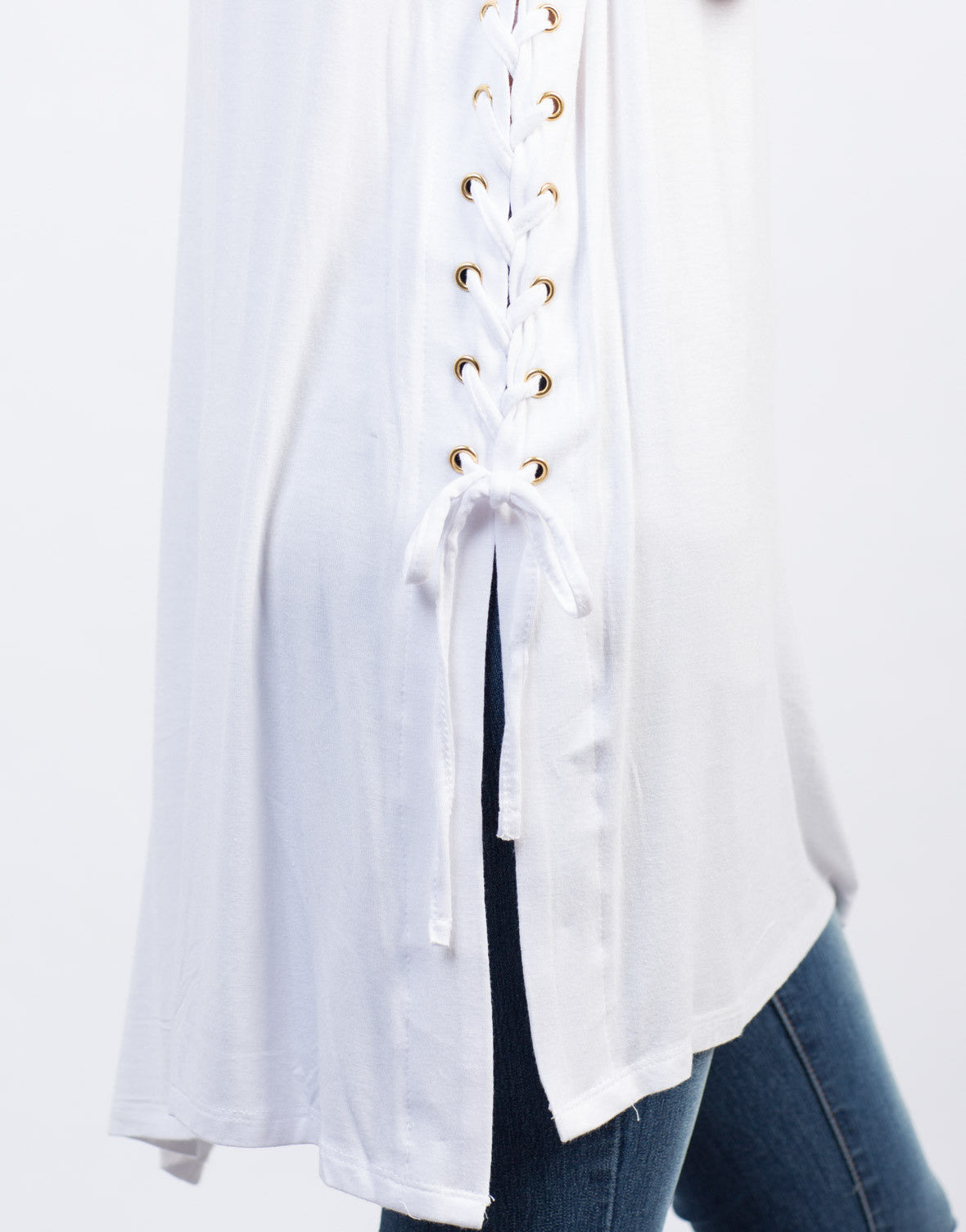 Detail of Side Lace-Up Tunic Tee