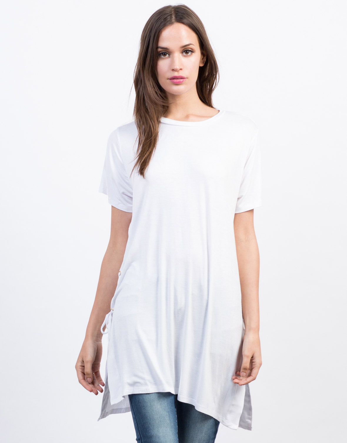Front View of Side Lace-Up Tunic Tee