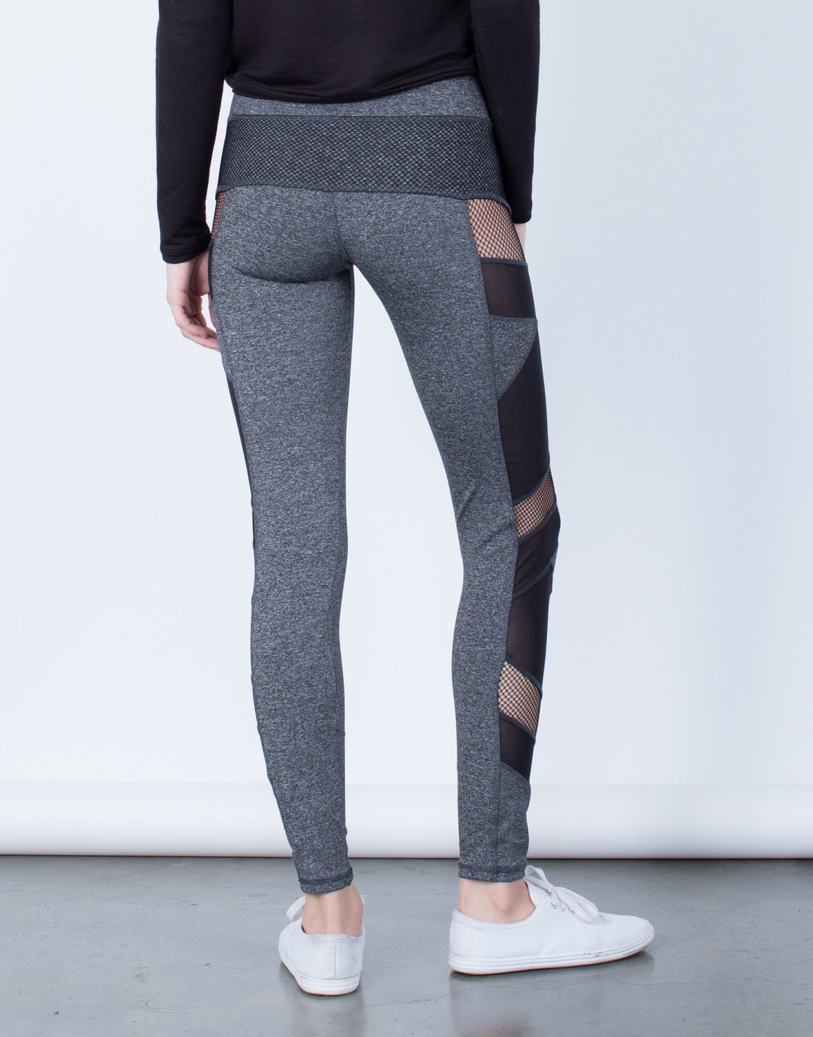 Back View of Side Mesh Activewear Leggings