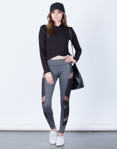 Front View of Side Mesh Activewear Leggings