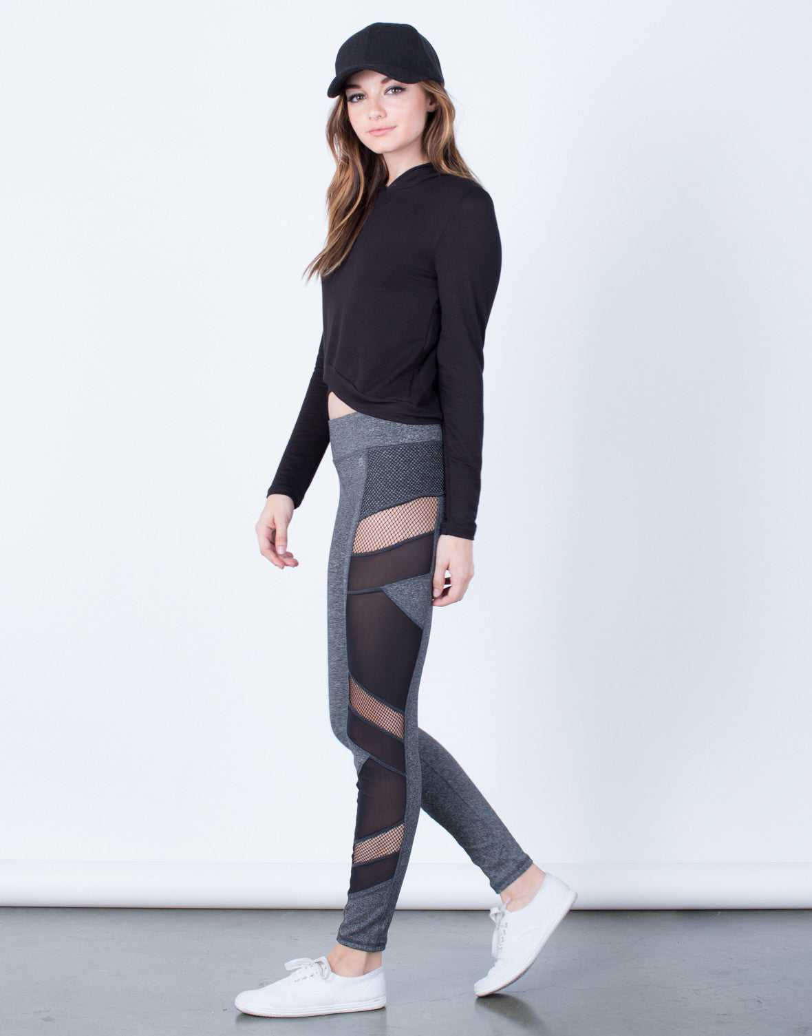 Side View of Side Mesh Activewear Leggings