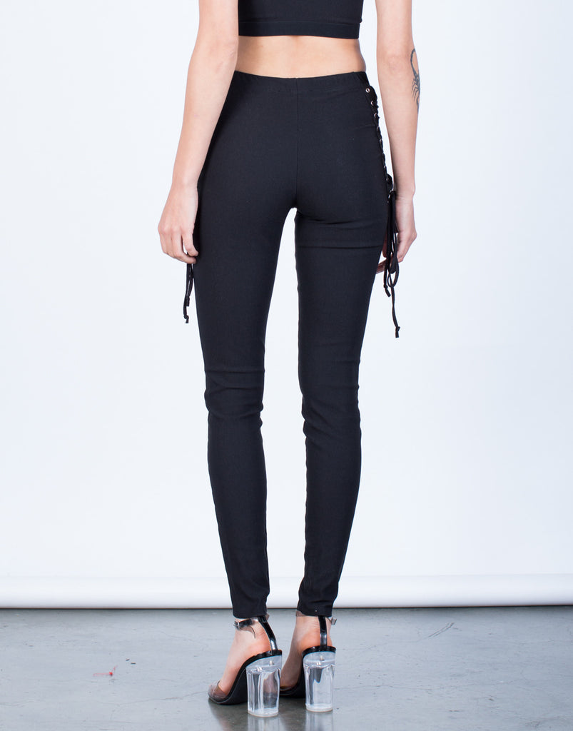 Back View of Side Mesh Lace-Up Pants