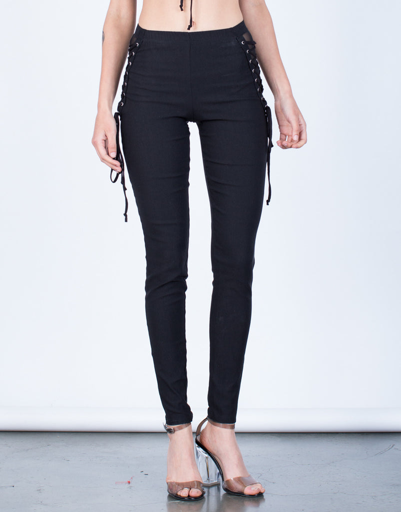 Front View of Side Mesh Lace-Up Pants