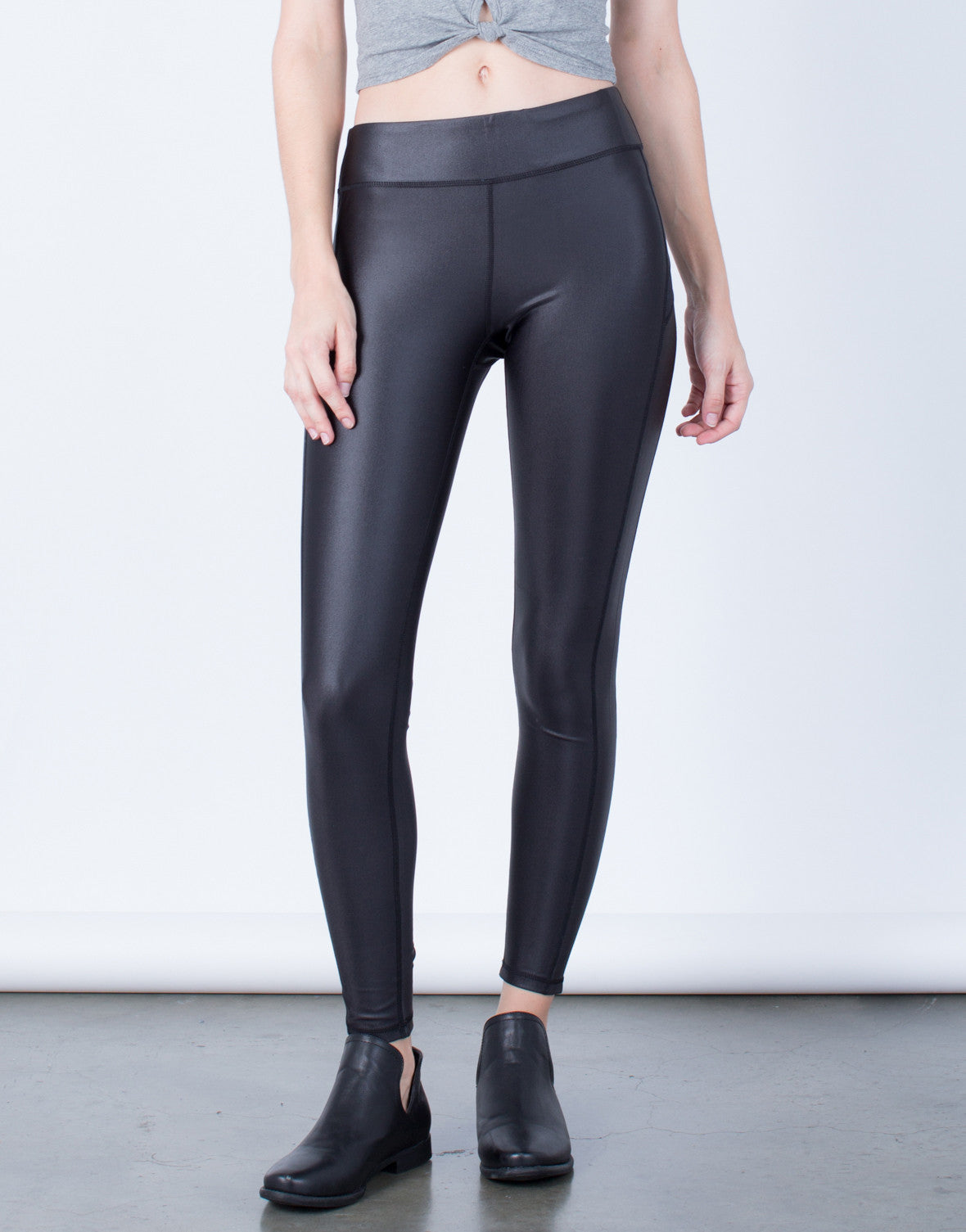 Side Mesh Paneled Leggings - 2020AVE