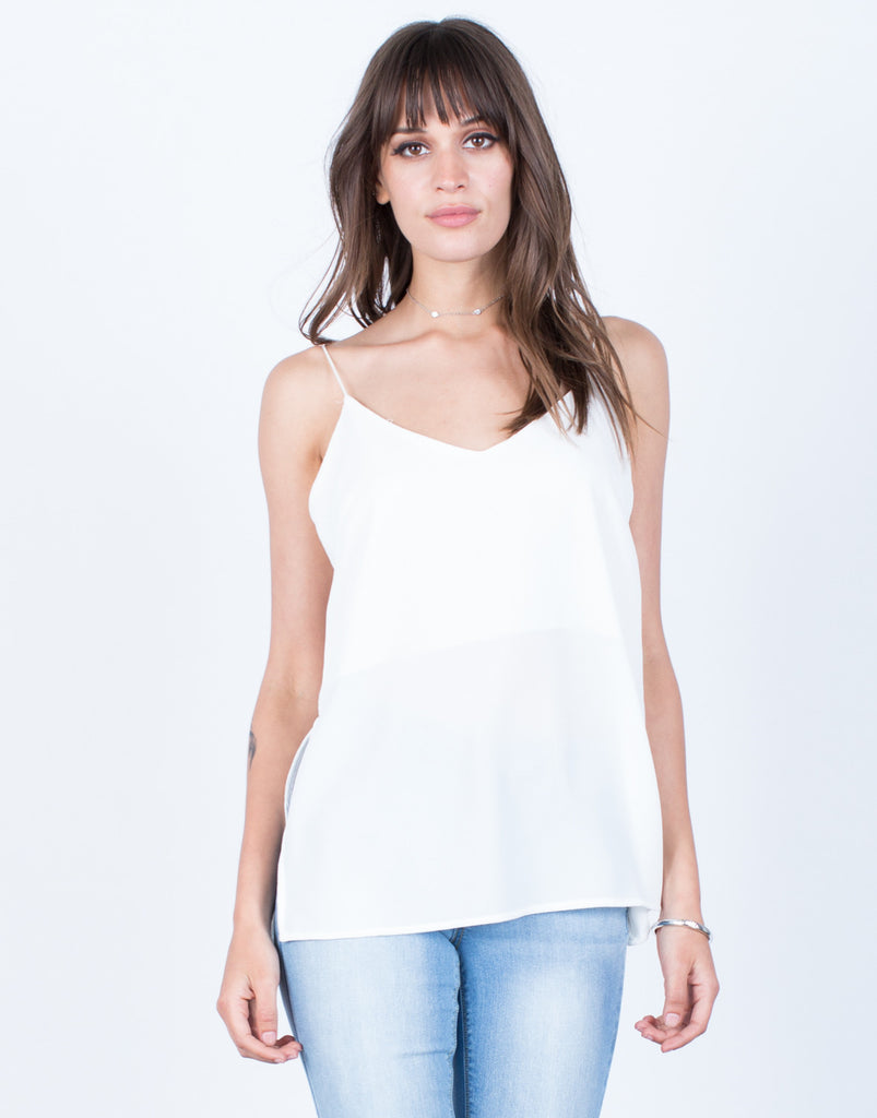 Front View of Side Slit Cami Tank