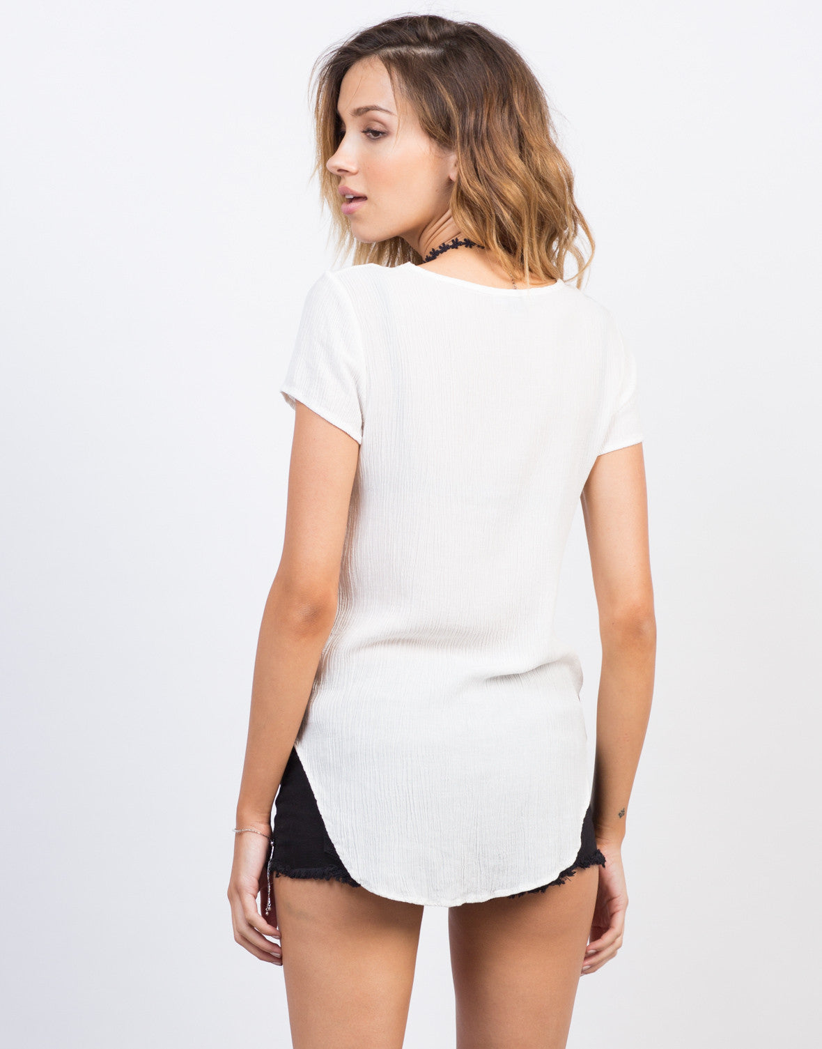 Back View of Side Slit Lace-Up Gauze Top