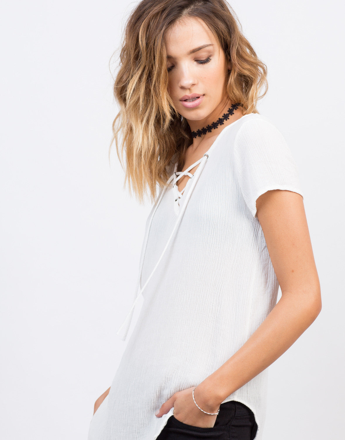 Detail of Side Slit Lace-Up Gauze Top