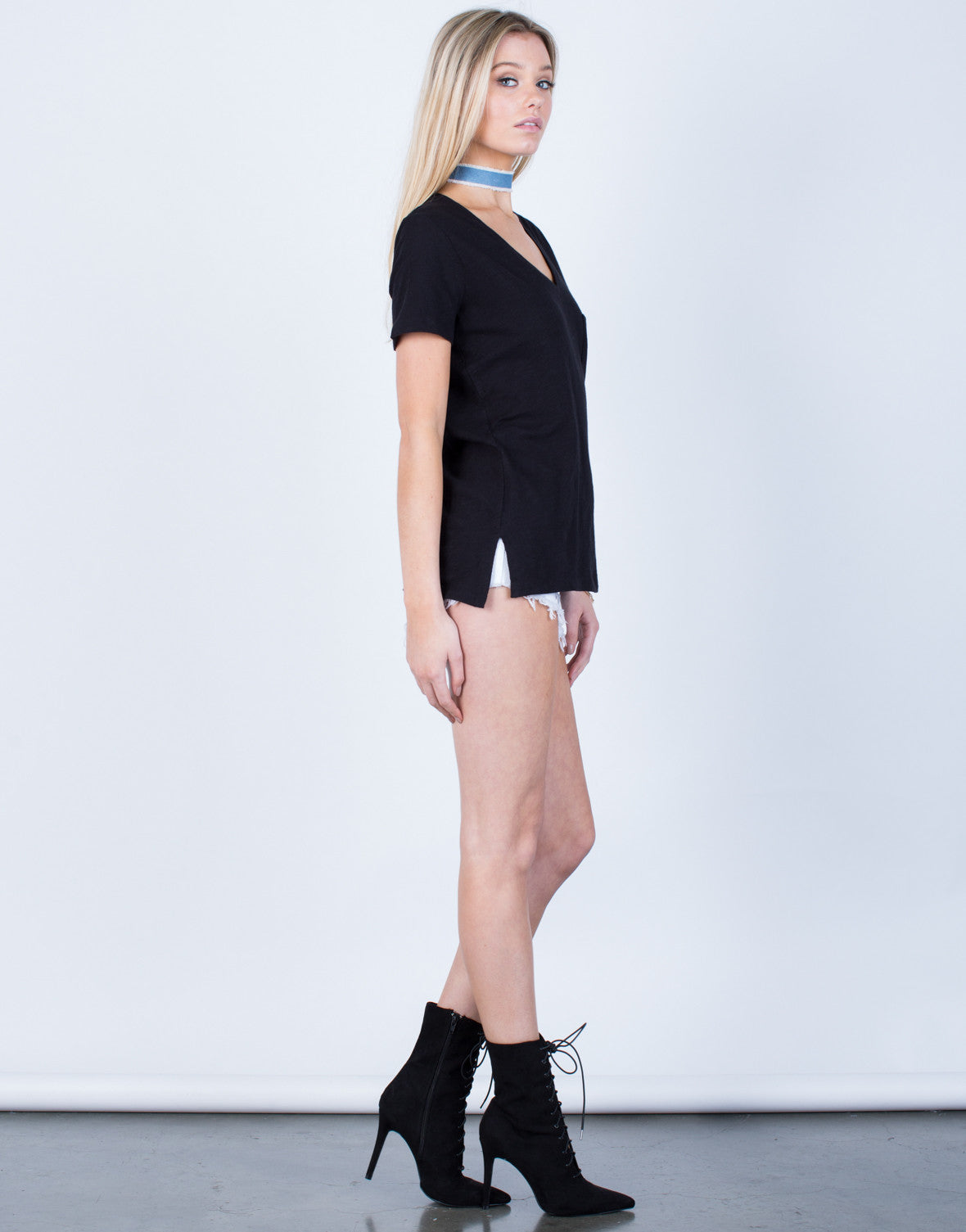 Side View of Side Slit Pocket Tee