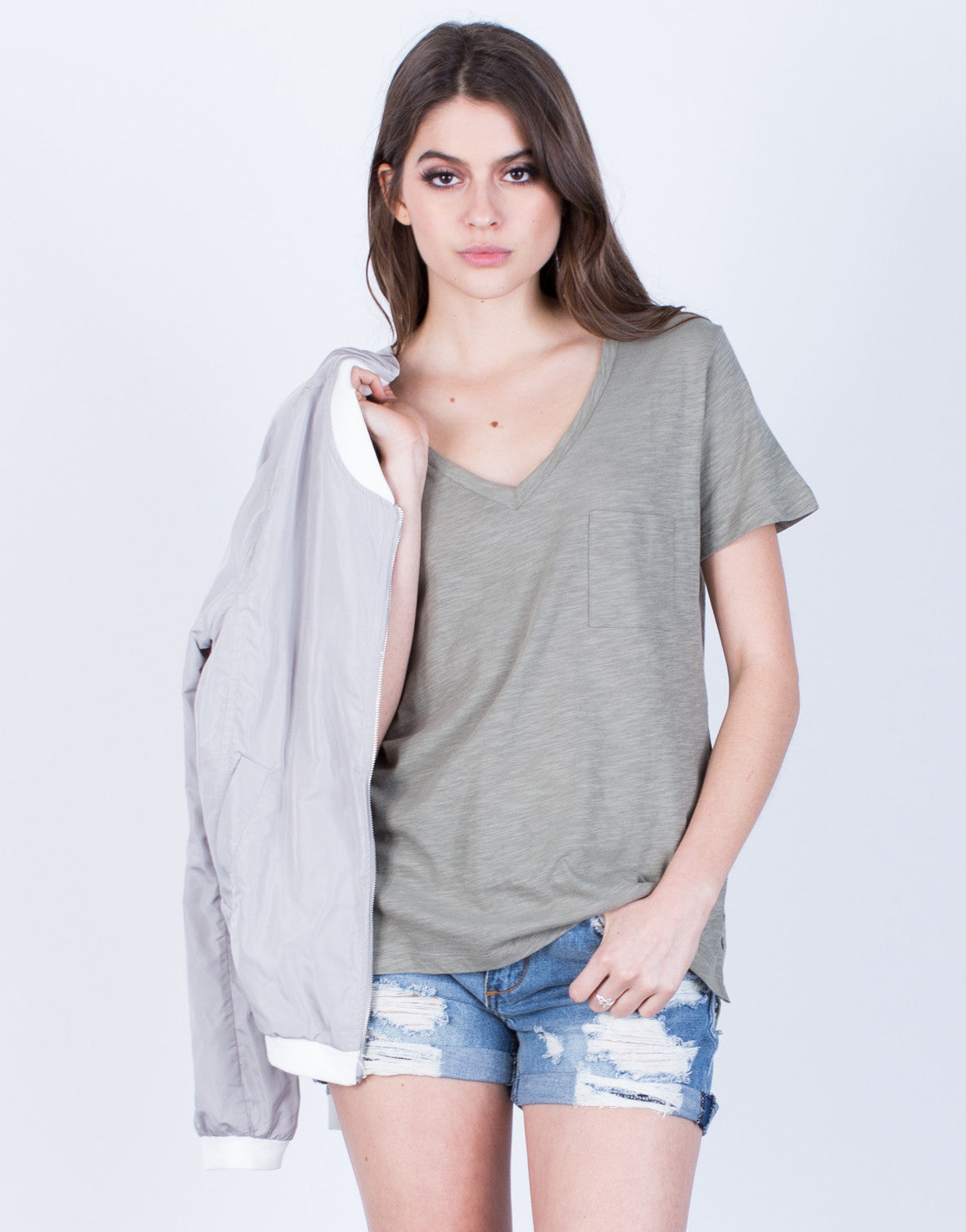 Front View of Side Slit Pocket Tee