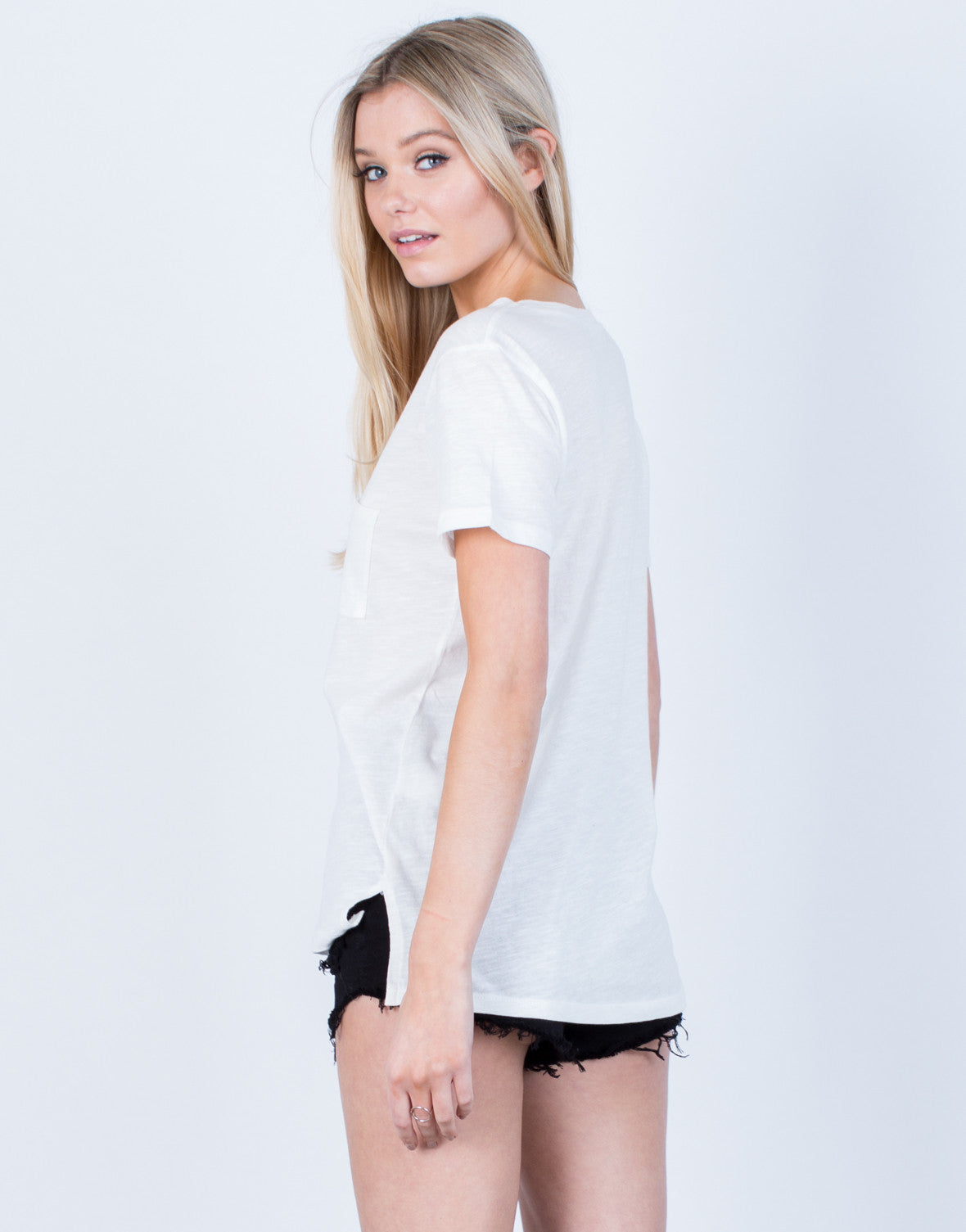 Back View of Side Slit Pocket Tee