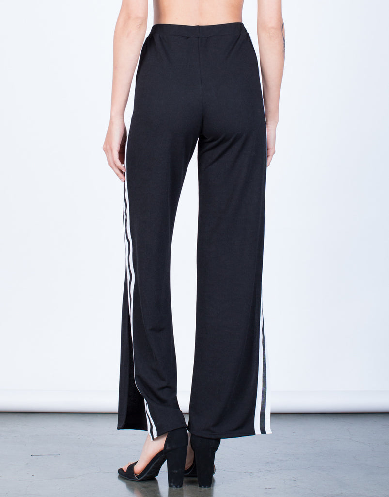 Back View of Side Slit Striped Pants