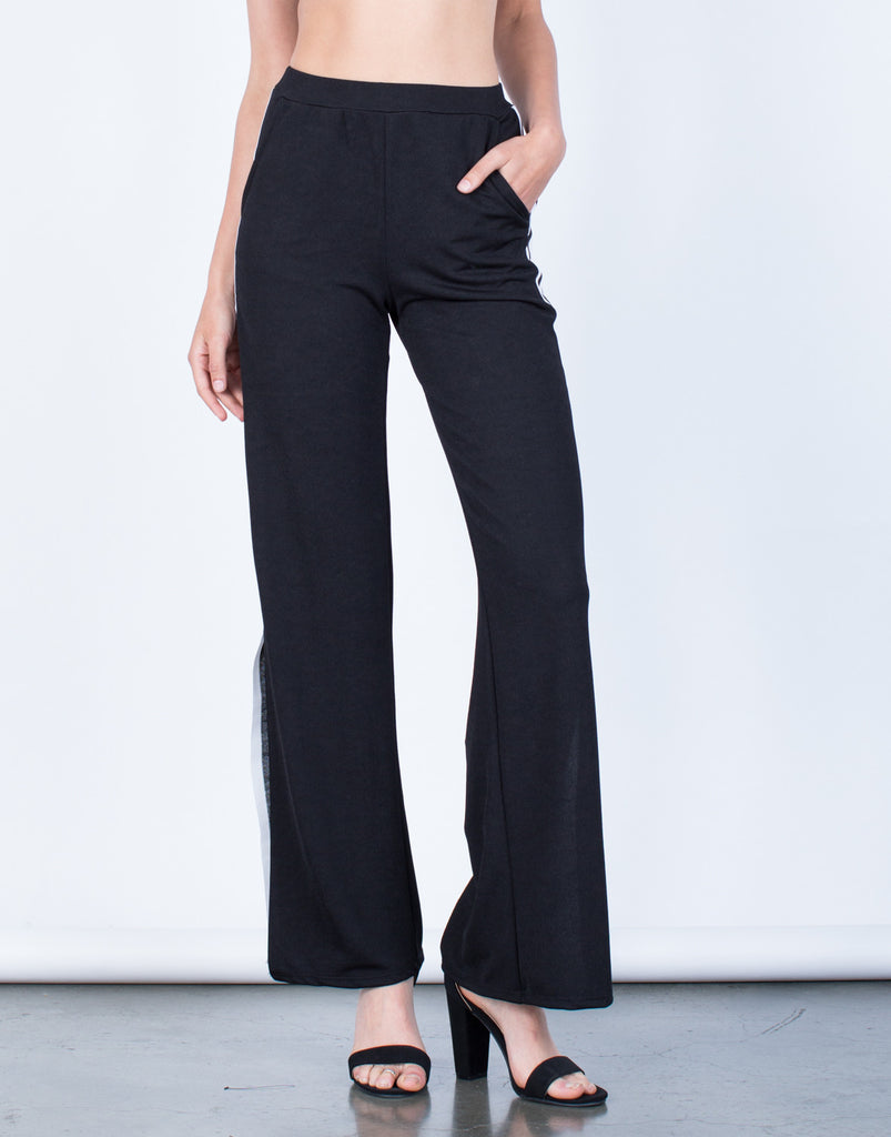 Front View of Side Slit Striped Pants