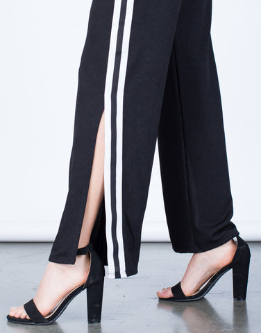 Detail of Side Slit Striped Pants
