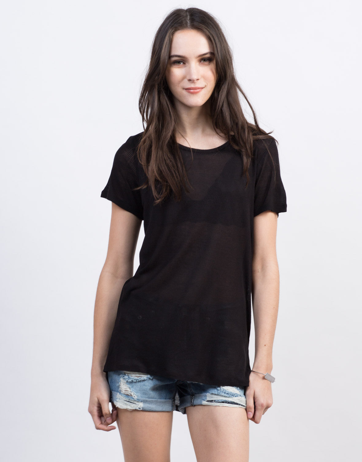 Front View of Side Slit Tee