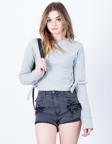 Side Tie Cropped Sweater