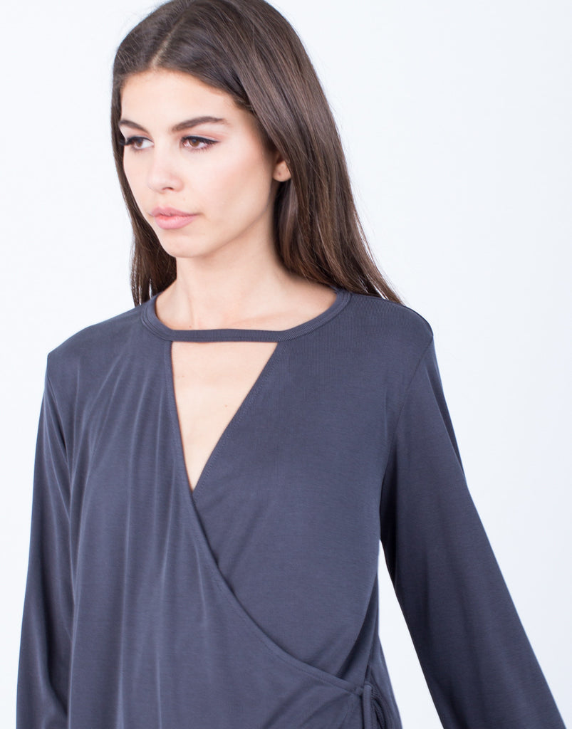 Detail of Side Tie Wrapped Blouse