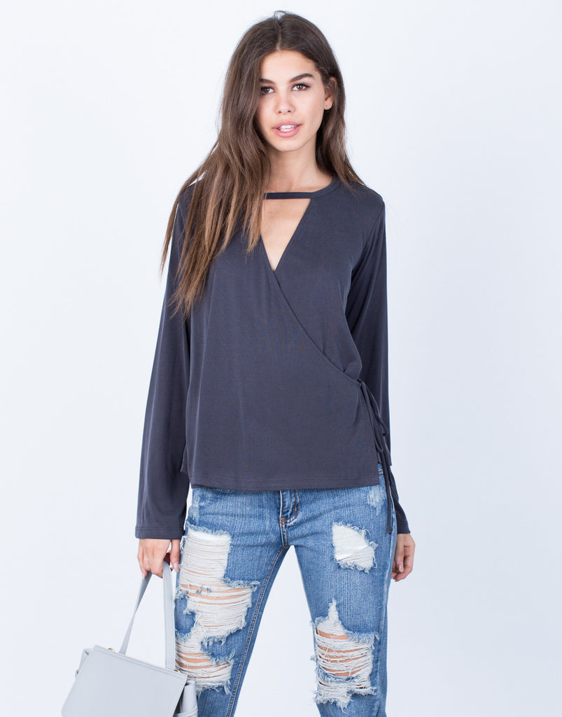 Front View of Side Tie Wrapped Blouse