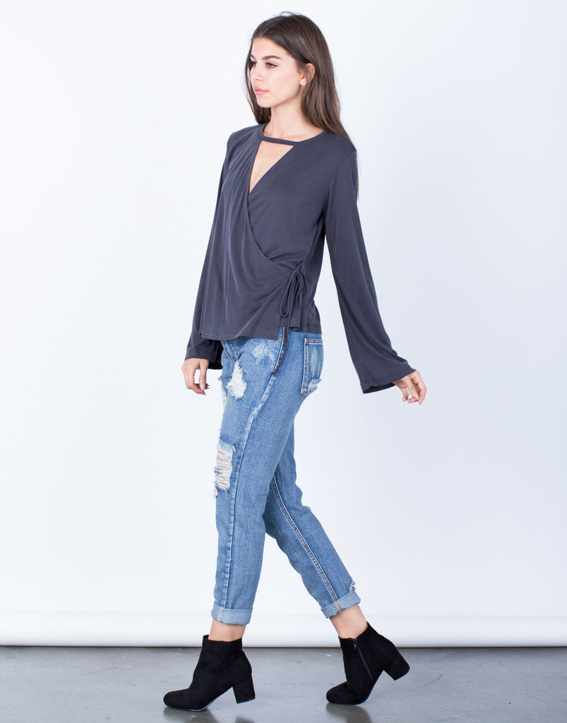 Side View of Side Tie Wrapped Blouse