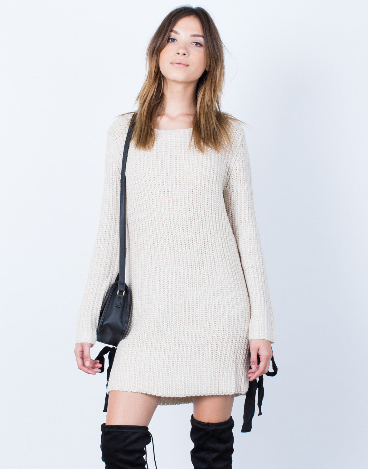 Front View of Side Ties Sweater Dress