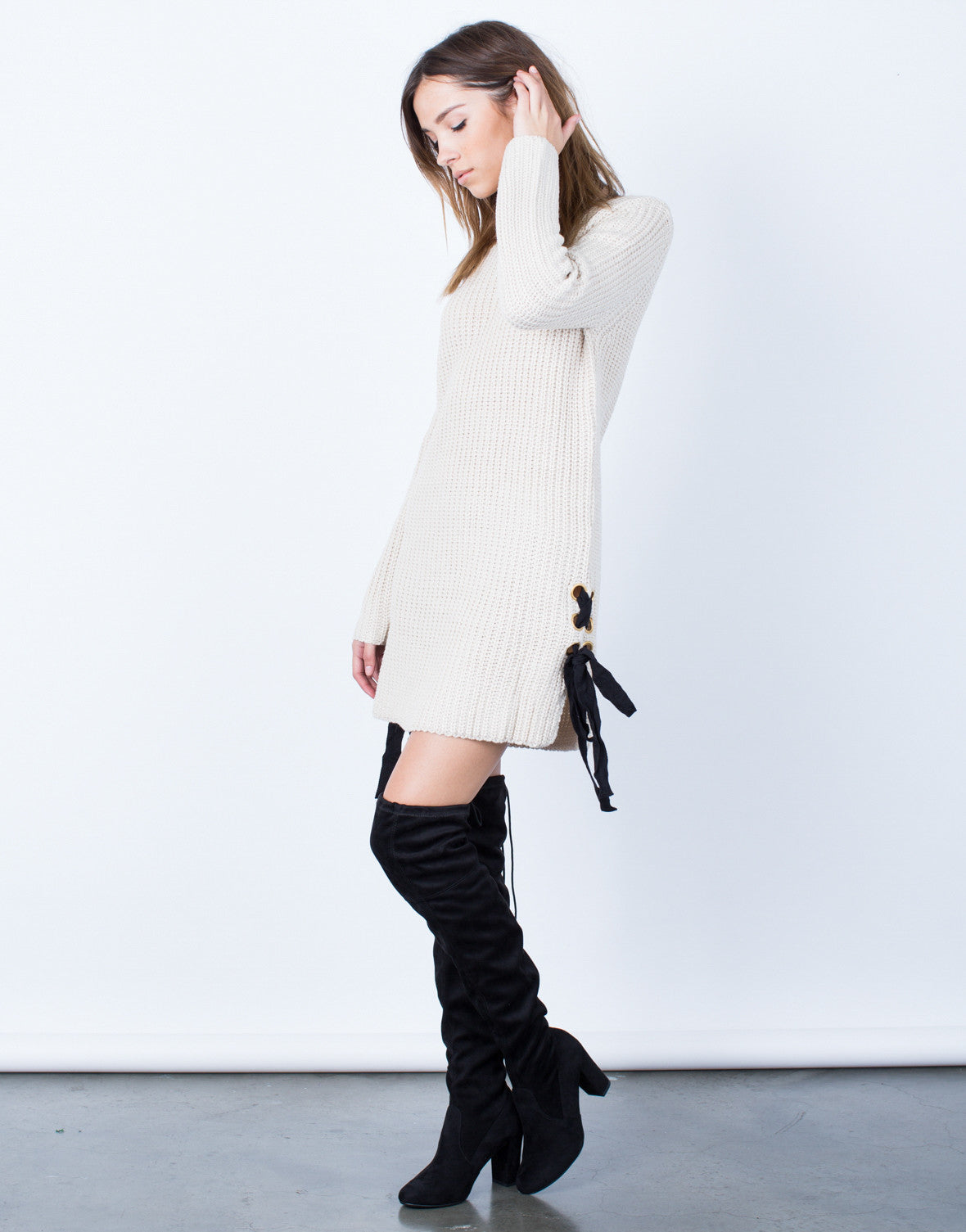 Side View of Side Ties Sweater Dress