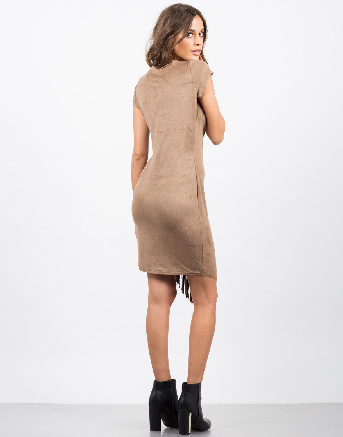 Back View of Side Fringe Tee Dress